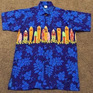 e9809535 RIMA Mens HAWAIIAN ALOHA Floral Surfboards Sz S
